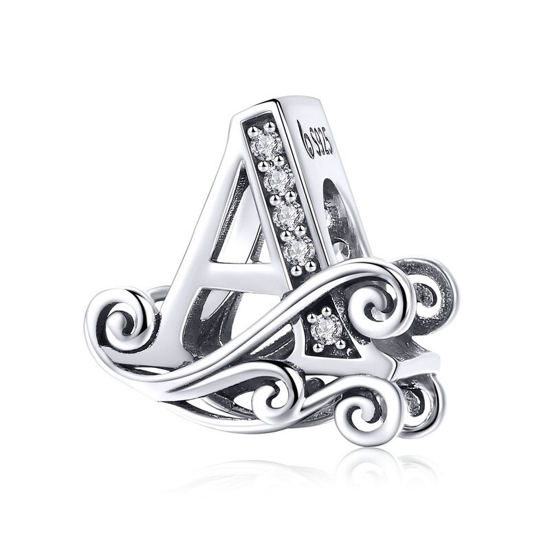 BAMOER 2019 NEW 925 Sterling Silver Vintage A to Z Clear CZ 26 Letter Alphabe Bead Charms Fit Bracelets DIY Jewelry BSC030 - A YSTE-18410