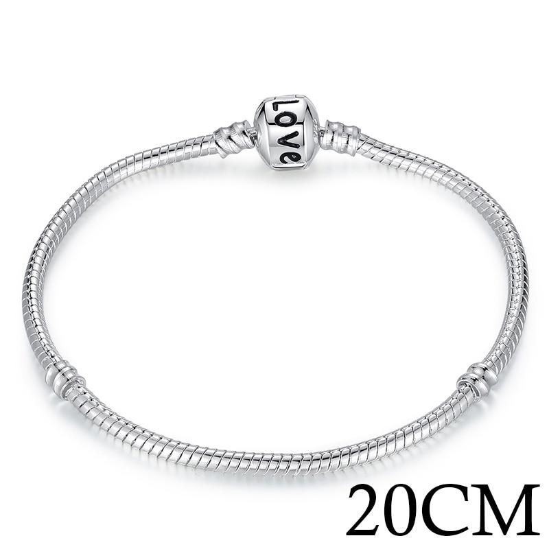 BAMOER 5 Style Silver Color LOVE Snake Chain Bracelet & Bangle 16CM-21CM Pulseras Lobster PA1104 - 20CM LOVE YSTE-18637