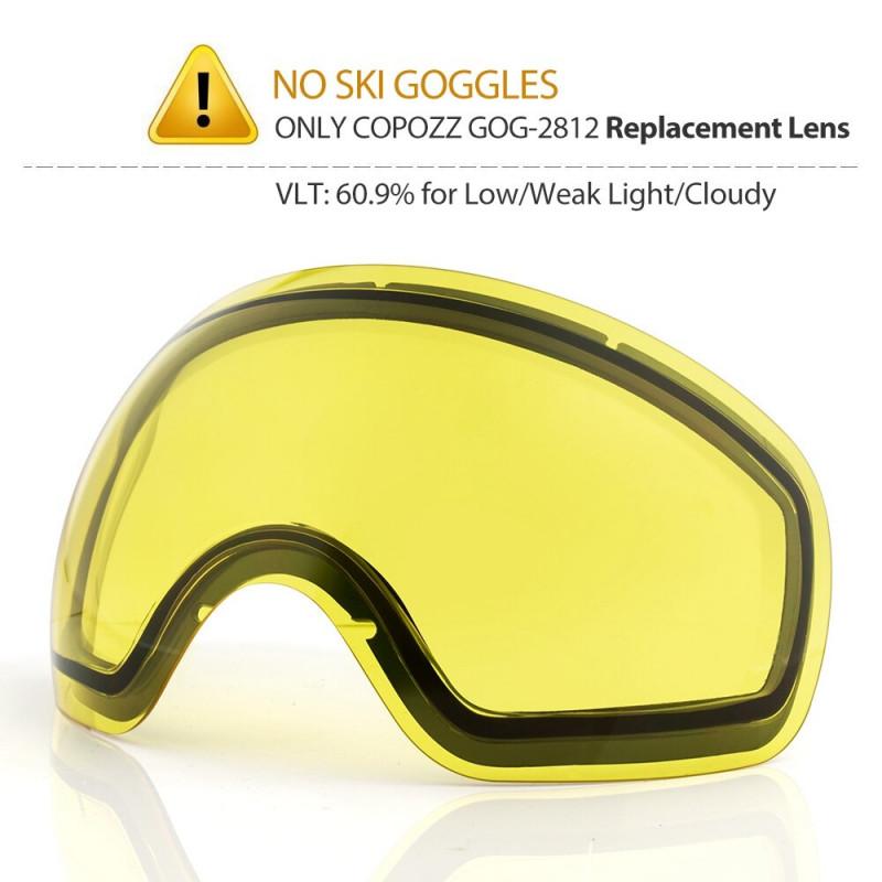 COPOZZ Anti-Fog Ski Goggles Spherical Frameless Ski Snowboard Snow Goggles 100% UV400 Protection Anti-Slip Strap for Men Women - Night lens only, China YSTE-23046