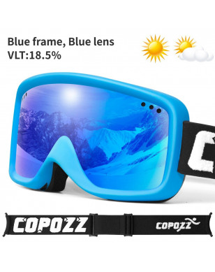 COPOZZ Anti-Fog Ski Goggles Kids Winter Ski Snowboard Snow Goggles UV400 Snow Glasses Children with Adjustable Anti-Slip Strap - Blue, China YSTE-23071