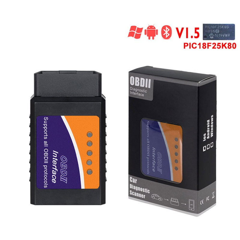 ELM327 WiFi Bluetooth V1.5 PIC18F25K80 Chip OBDII Diagnostic Tool For IPhone/Android/PC ELM 327 V 1.5 Auto Scanner Torque OBD - Bluetooth Version C YSTE-24629
