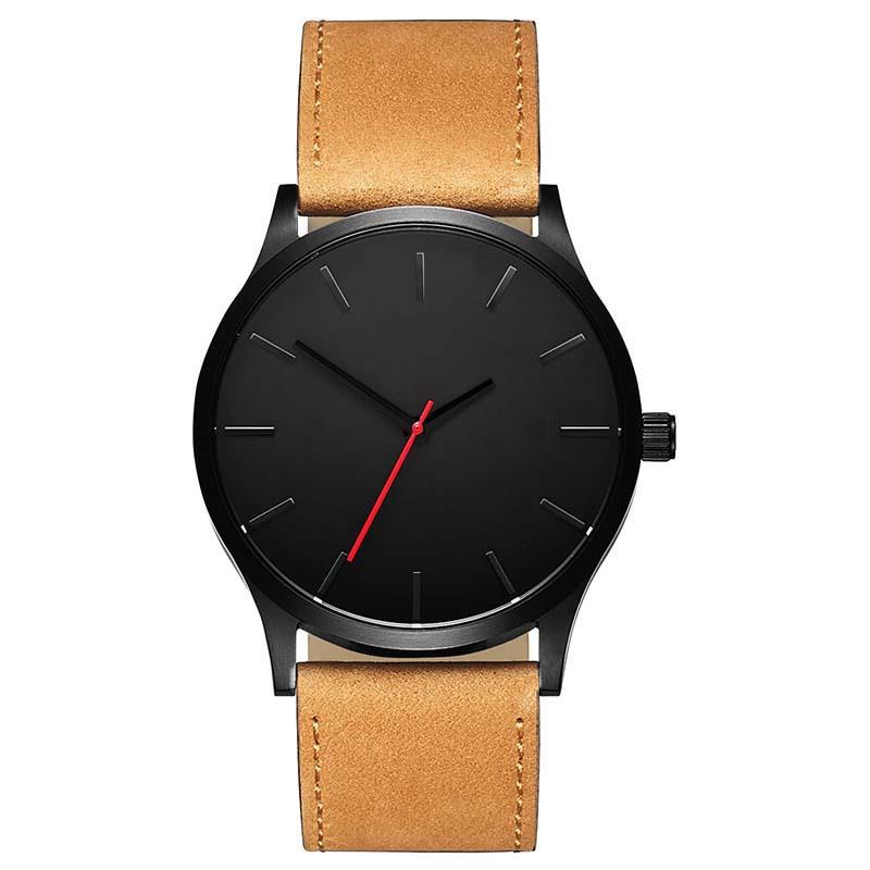 Men's Round Shaped Watch - Black Dial Brown YSTE-27594