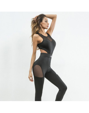 Transparent Mesh Patchwork Fitness Women's Bodysuit - Black, L YSTE-27756