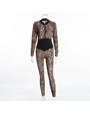 Snake Skin Printed Fitness Women's Bodysuit - Brown, S YSTE-27770