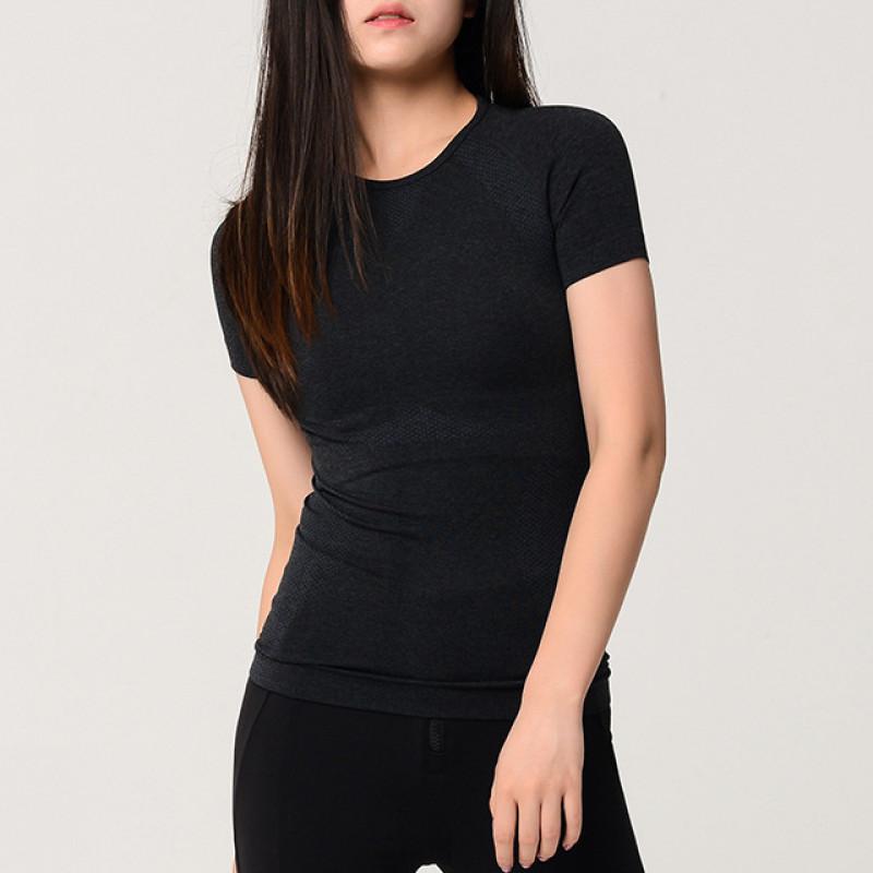 Breathable Mesh Compression Women's T-Shirt - Black, L YSTE-27782