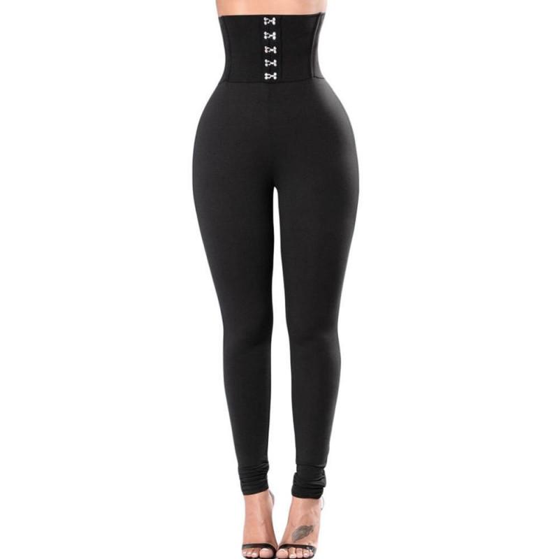 INITIALDREAM High Waist Pants Women Sport Leggings with 5 buttons Elastic fitness gym legging femme Black Color - 25-2501-01, S YSTE-27892