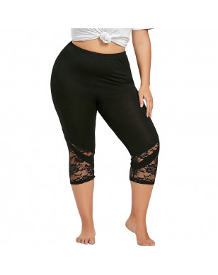 Fitness Legging Plus Size Women Solid Lace Patchwork Hollow Leggin High Waist Workout Exercise Skinny Panties Women Clothes 2019 - Black, XL, China YSTE-27921