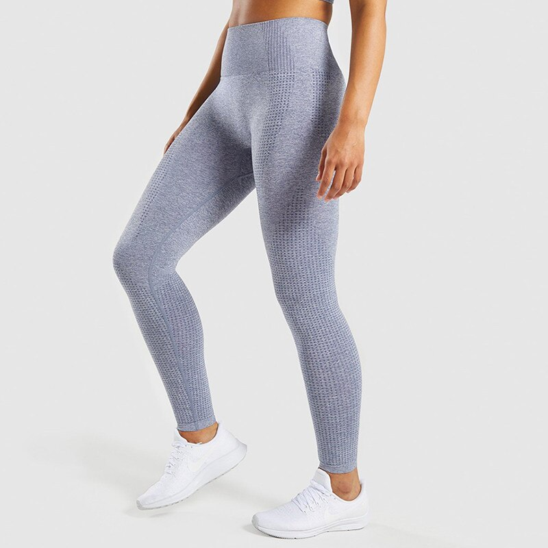 CHRLEISURE Fashion Seamless Fitness  Leggings Feminina Jeggings Sportswear Women High Waist Workout Leggings Women - 1Gray, L YSTE-27966
