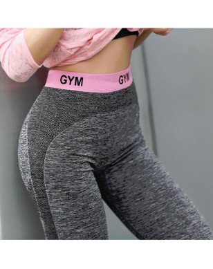 OVESPORT Patchwork Slim Women Leggings Fitness High Waist Elastic Leggings For Women Workout Quick Dry Pants Push Up Leggins - Pink, L YSTE-28030
