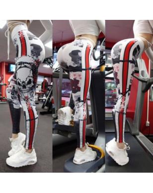New Skull Printing Leggings Women Push Up fitness Pant Jeggings Workout High Waist Leggins Mujer Patchwork Gothic Women Leggings - NX087, S YSTE-28049