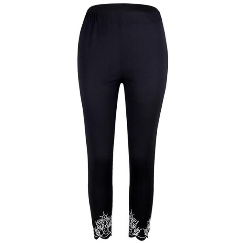 YRRETY Women Push-up Leggings Print Fashion Patchwork Elastic Skinny Fitness Leggings Sporting Clothing For Women White Pants - K287 Black, S YSTE-28085