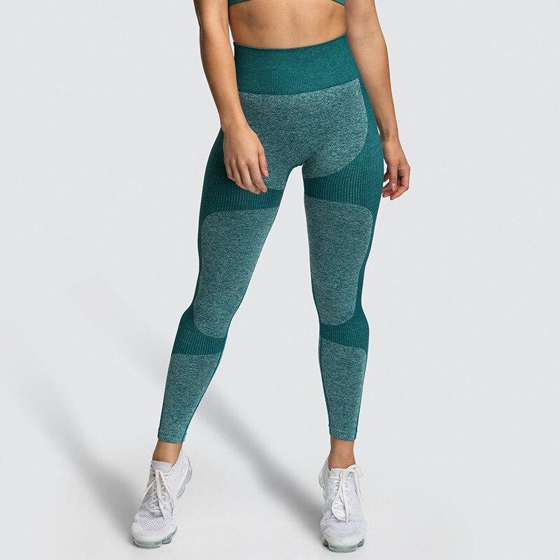 2019 Seamless Patchwork Leggings Women Fitness Push Up Hip Solid Color Legging Sporting Sweat Uptake Ventilation Female Pants - Green, S YSTE-28245