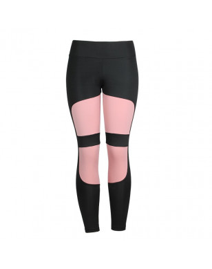 Women Leggings High Waist Fitness For Legging Femninia Activewear Black Workout Leggings Fashion Patchwork Jeggings - Pink, L YSTE-28280