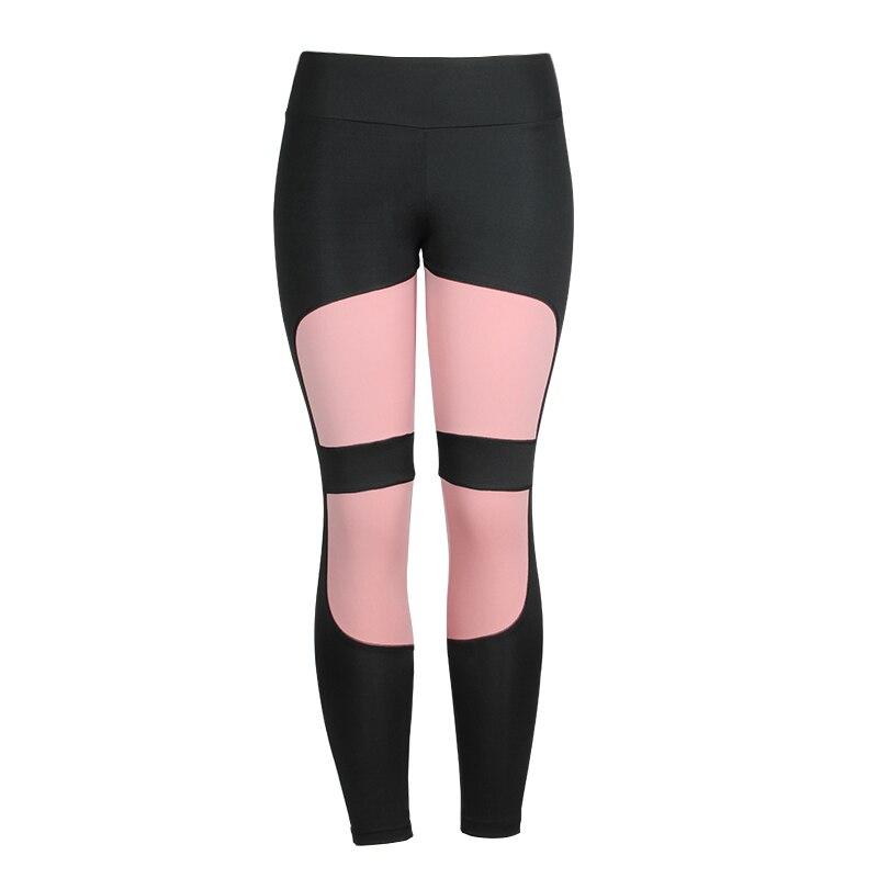 Women Leggings High Waist Fitness For Legging Femninia Activewear Black Workout Leggings Fashion Patchwork Jeggings - Pink, L YSTE-28280