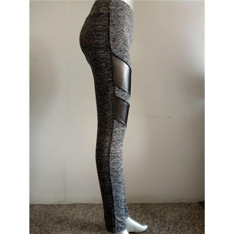 New Women Casual Leggings Fitness Winter Jeggings New Arrival Ladies Elastic Waist Color Pants Block Mesh Insert Leggings - Gray, S YSTE-28319