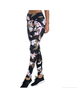Fashion Printed Women Fitness Leggings Mesh Patchwork Workout Leggins Push Up Casual Slim Pencil Pants High Waist Gym Clothing - Pants, S YSTE-28445