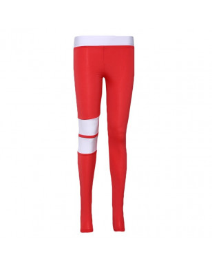 Sexy Women Leggings Gothic Stripe Patchwork Trousers Pants Black Red Capris Sportswear New Fitness Leggings High Elastic Legging - Red, S YSTE-28610