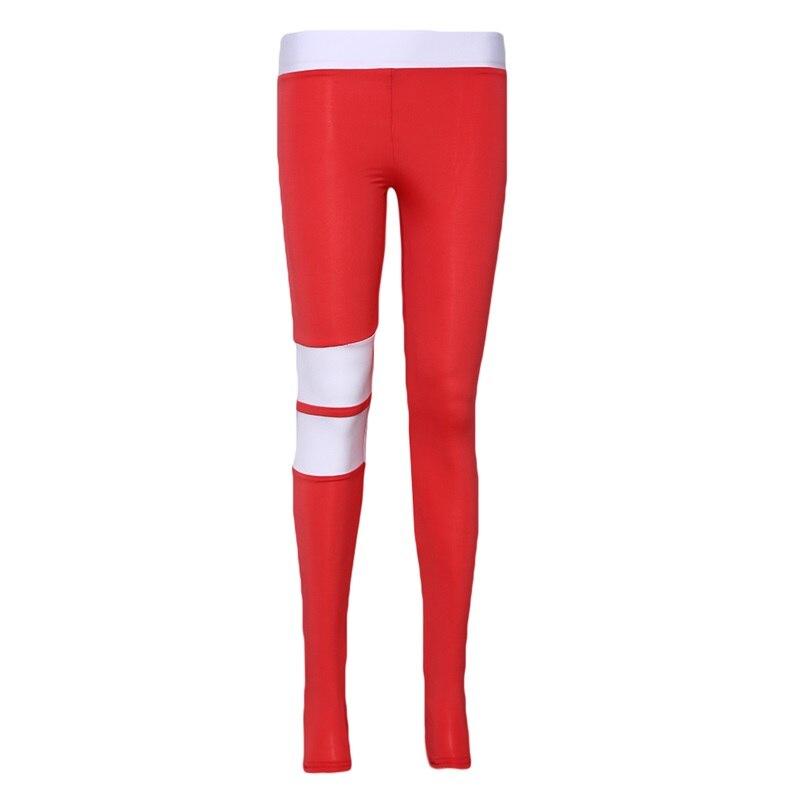 Sexy Women Leggings Gothic Stripe Patchwork Trousers Pants Black Red Capris Sportswear New Fitness Leggings High Elastic Legging - Red, S YSTE-28610