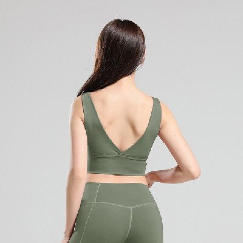 Fitness Sports Bra Women Gym Yoga Bra Crop Tops Sportswear For Women Sport Push Up Brassiere Workout Fitness Padded Yoga Top - Army Green, L YSTE-28662
