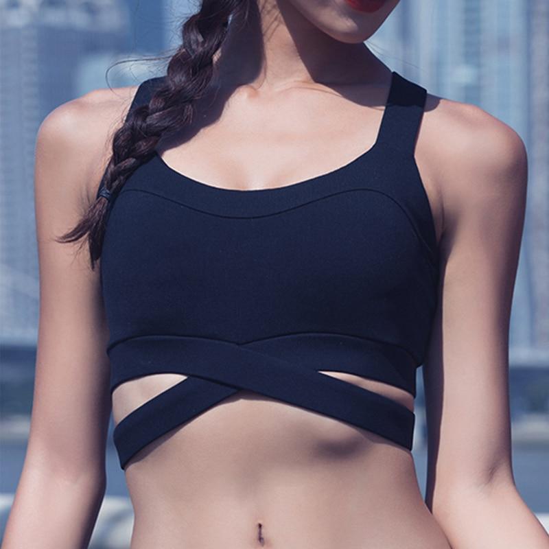 Sports Bra For Women Fitness Top High Impact Yoga Bra Sport Shockproof Bra Cross Workout Gym Yoga Tops  Push Up Sportswear - Black, XL, 34 YSTE-28755