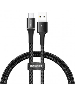 Baseus LED Lighting Micro USB Cable 3A Fast Charging Charger Microusb Cable For Samsung Xiaomi Android Mobile Phone Wire Cord 2m - Black, 50cm YSTE-39539