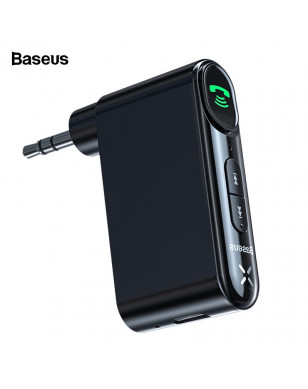 Baseus Bluetooth Receiver 3.5mm Wireless Audio Receiver Auto Bluetooth 5.0 Adapter For Car Speaker Headphone Handsfree With Mic - Black, Bluetooth V5.0 YSTE-39668