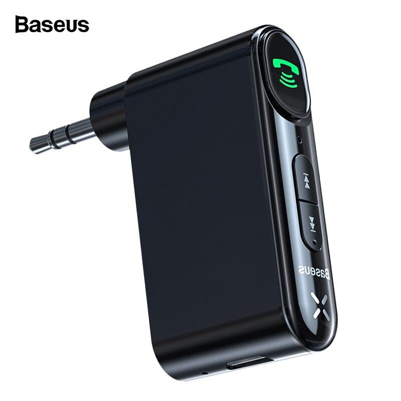 Baseus Bluetooth Receiver 3.5mm Wireless Audio Receiver Auto Bluetooth 5.0 Adapter For Car Speaker Headphone Handsfree With Mic - Black, Bluetooth V5.0 YSTE-39668