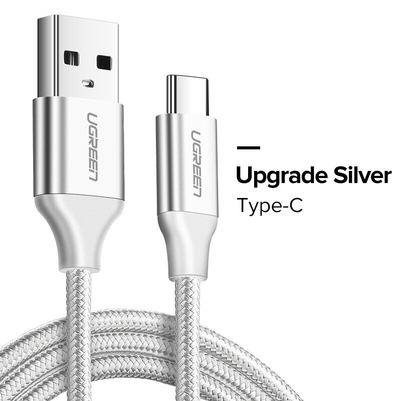 Ugreen USB Type C Cable USB C Fast Charging Data Cable for Samsung Galaxy S9 S8 Plus Mobile Phone Charger Cable for Xiaomi Mi 8 - China, Nylon Silver, 1m YSTE-40800